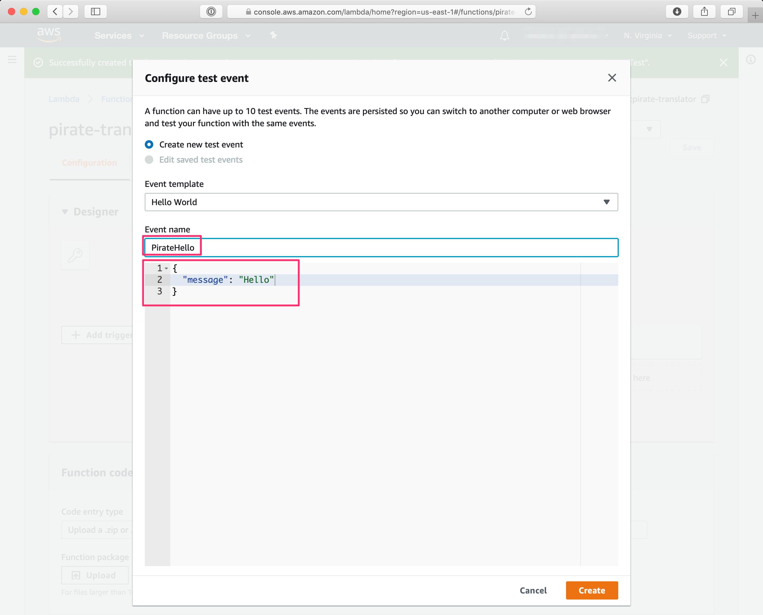 Configure test event dialog