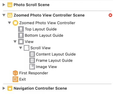 Document outline for Zoomed Photo View Controller