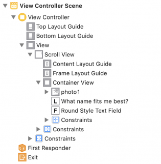 View Controller Scene's document outline