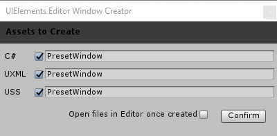 The UIElements Editor Window Creator screen