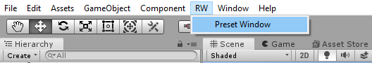 Preset Window option under RW
