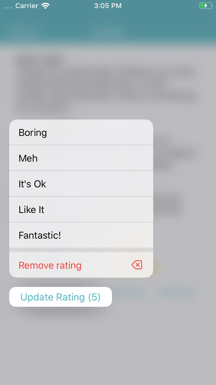 Update rating submenu