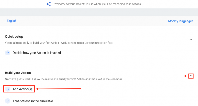 Add Actions Actions Console