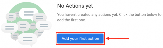 Add Your First Action Actions Console