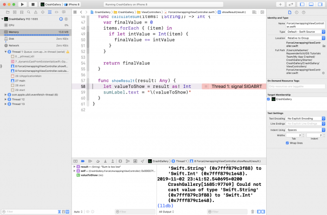 The crash line in Xcode.