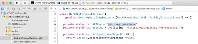 Image showing where to add Dark Sky API Key