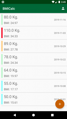 bmi app main screen