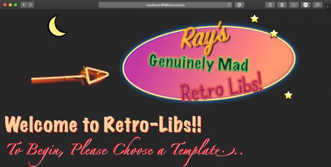 Start page of the RetroLis app