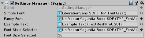 Configured font settings