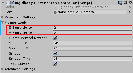 Mouse sensitivity controls in the Inspector