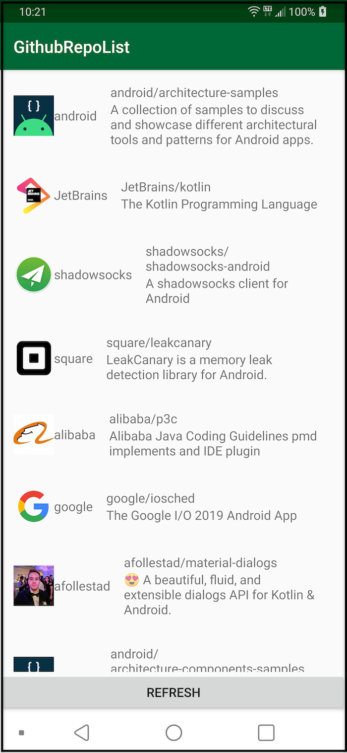 GitHub repo list from your app