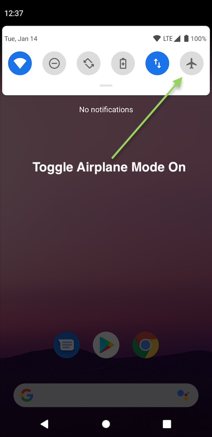 Toggling airplane mode on