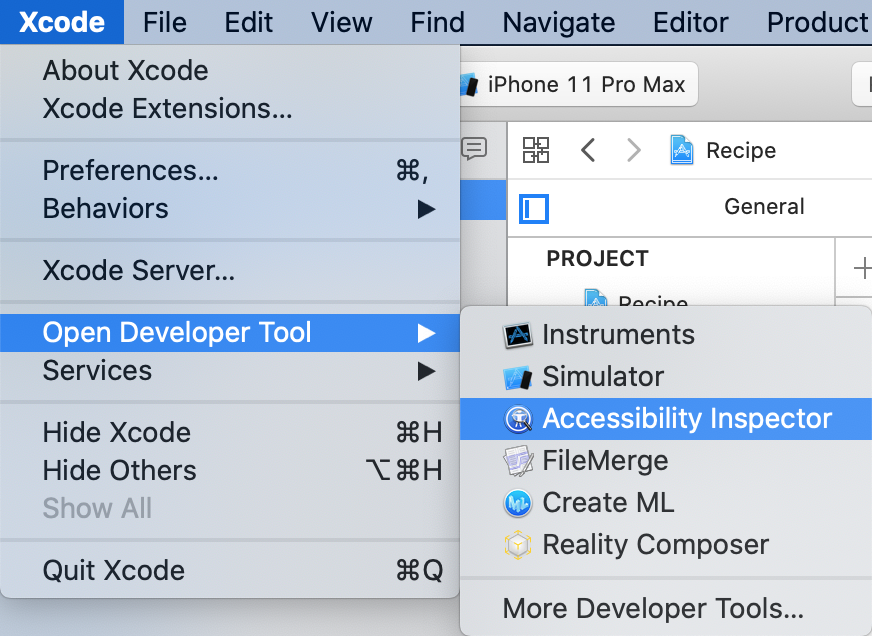 Selecting the Accessibility Inspector