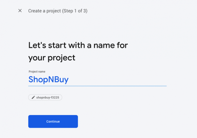 Creating a project in Firebase