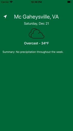 Green home screen displaying McGaheysville, VA weather and date