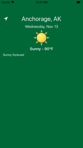 Green home screen displaying weather for current location on Nov. 13