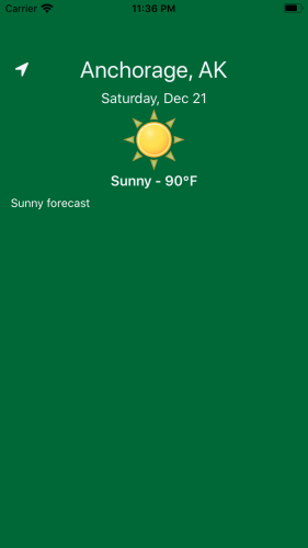 Green home screen displaying weather for current location on current date