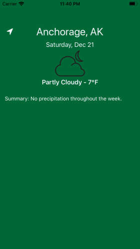 Green home screen displaying weather conditions for default location and current date
