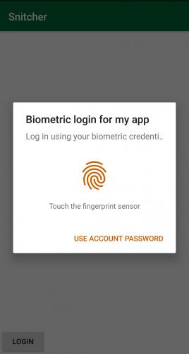 Biometric login prompt