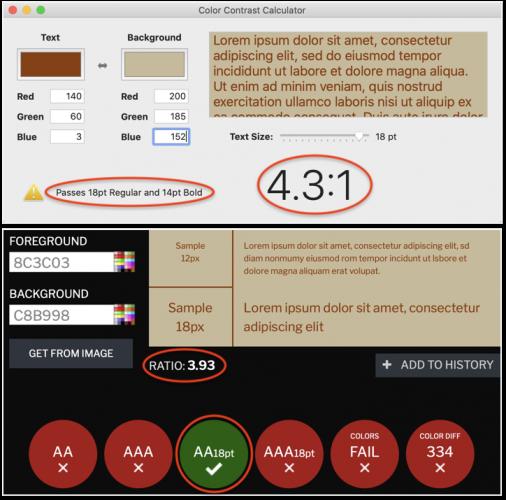 Compare Xcode Contrast Color Calculator with contrastchecker.com