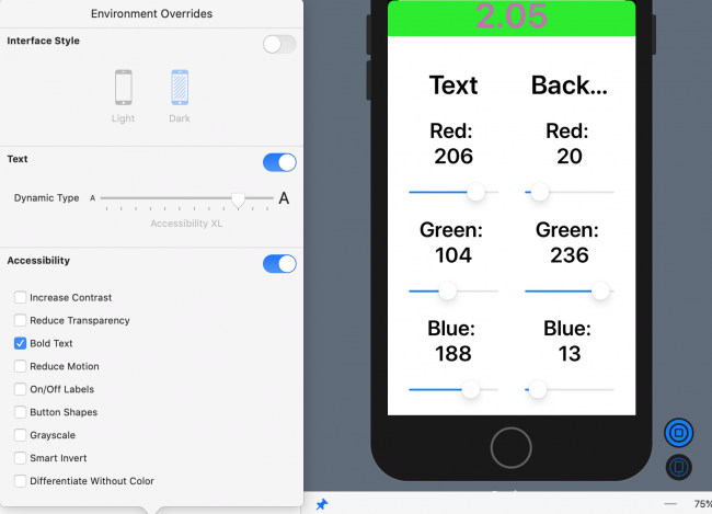 Environment Overrides: VStack for Bold Accessibility XL Text size
