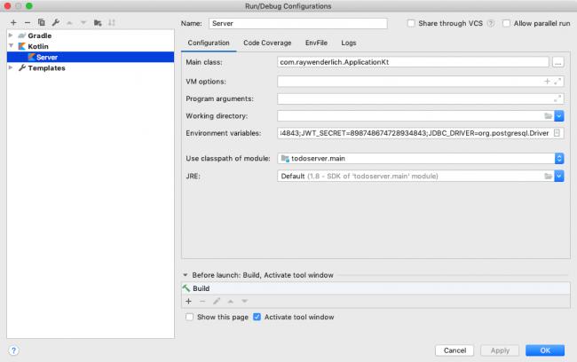 Run/Debug Configuration Page setup