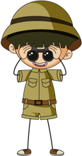 An explorer in safari clothing