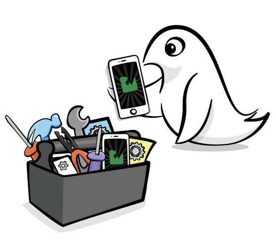 Swift mascot with iPhone and toolbox