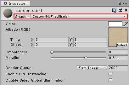 selecting MyFirstShader as the shader for the cartoon-sand material