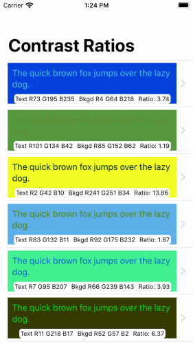 List view with improved color descriptions