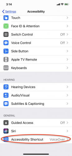 iPhone Settings: accessibility shortcut set to VoiceOver