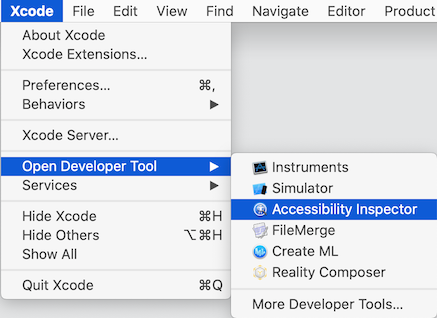 Xcode: Open accessibility inspector