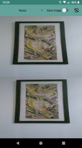 app screenshot with same picture of a painting in both upper and lower halves