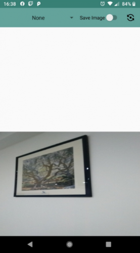 app screenshot with photo of painting in lower half of screen