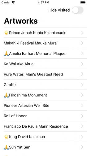 Artworks list view