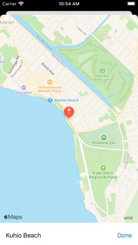 Map centered at Kuhio Beach