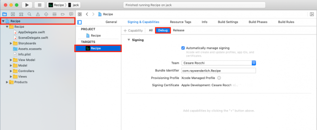 Configuring signing in Xcode