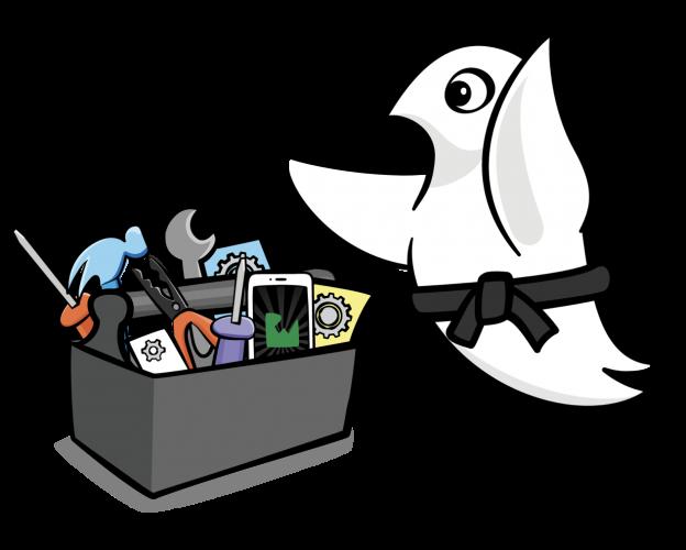 Ninja Swift mascot with toolbox