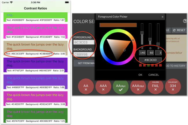 Copy hex color values from app to web page. Get RGB integers from web page.