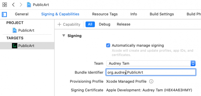 Signing PublicArt target with changed bundle ID