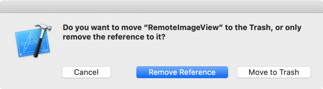 Pop up asking how you want to remove with Remove Reference selected.