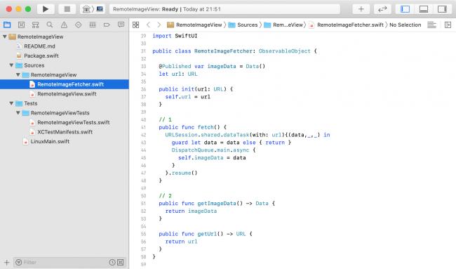 Xcode window showing editable source files.