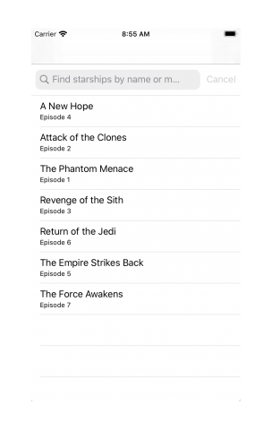 tableview showing list of film titles