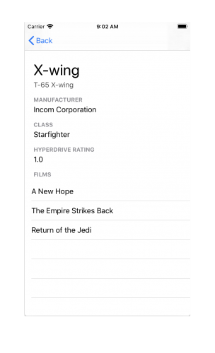 completed app showing list of films for the X-wing