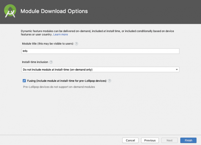 Module Download Options screen