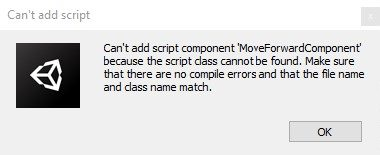 Can't add script error message window