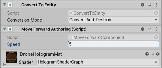 Move Forward Authoring component added in Inspector