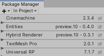 Unity package manager window