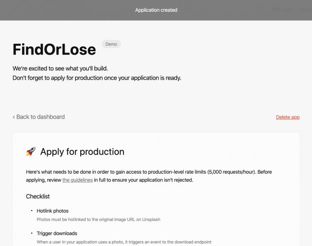 Creating Unsplash app to get the API key