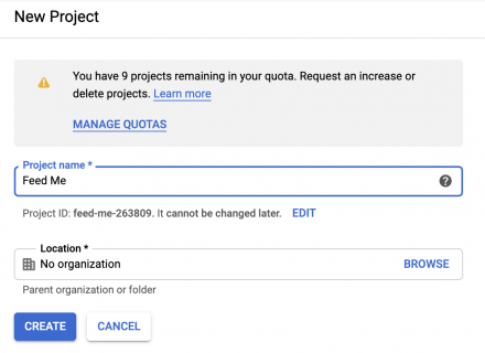 Google developers console - create project